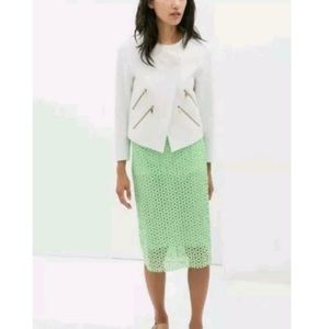 Zara  Lace Skirt Neon Mint Green Pencil Lime S